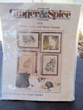 GINGER & SPICE CROSS STITCH KIT  CATS 3 FRIENDS SNOWBALL IN A GARDEN