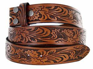 BELT - Tan Western Flower Design Full Grain Leather Snap On Belt - NO BUCKLE