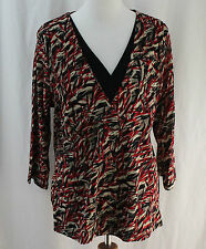 Norton McNaughton Woman, 1X, Brick Red Multi-color Top, New without Tags