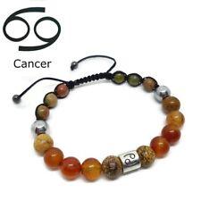 Zodiac Sign CANCER Birthstone Carnelian, Picture Jasper, Unakite Unisex Bracelet