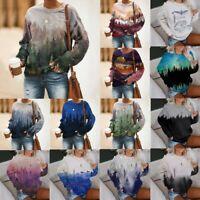 Women Mountain Printed Pullover O-Neck Long Sleeve Sweatshirt Shirts Tops Blouse