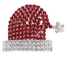 Red Clear Crystal Santa Clause Elf Star Hat  Brooch Pin Christmas Jewelry p33