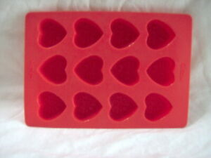 WILTON CANDY STACK N MELTS SILICONE MOLD Decorated HEARTS 12 cavity Ice Jello +