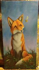 ORiginAL Oil Painting~~~FOX~~~ ~~~BUMBLEBEE~~~Hand Painted~BEE~Whimsical~Art