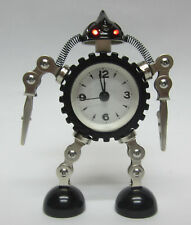 New Black And Silver Robot Desk Alarm Clock With Repositional Arms & Legs