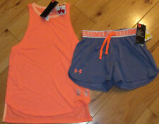 Under Armour Threadborne neon coral tank top & shorts set girls' M YMD