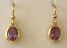 8x6 GENUINE 9K 9ct SOLID Gold  NATURAL AMETHYST HOOK DROP DANGLE EARRINGS