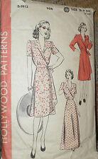 Vintage 1940s Hollywood 906 GLAM Coat Dress Housecoat Pattern 34B sz 16