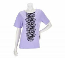 New BOB MACKIE Size S Lilac Black Embroidered Lace Elbow Sleeve Cotton T-Shirt