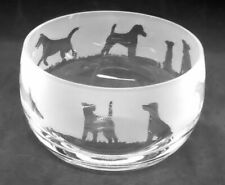 More details for smooth fox terrier  frieze 12cm boxed crystal glass bowl