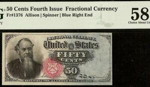 50 CENT FRACTIONAL CURRENCY STANTON NOTE OLD PAPER MONEY Fr 1376 PMG AU 58