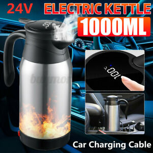 1000ml 24V Car Electric Kettle Pot Heated Water Cup Stainless Steel Thermal Mug