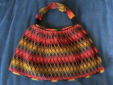Vintage Knit Knitted or Woven Bag Multi-color Unlined Wool or Wool Blend