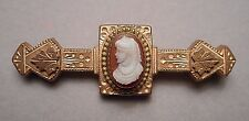 Antique 1880s Victorian Gold Filled Bar Pin Brooch with Hardstone Lady Cameo