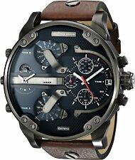 DIESEL DZ7314 Mr Daddy Mens Watch Brown Leather Navy Blue Dial Chronograph