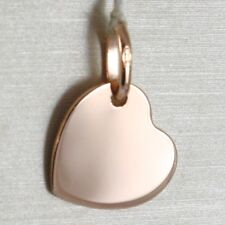 18K ROSE GOLD HEART ENGRAVABLE CHARM PENDANT 13 MM FLAT SMOOTH MADE IN ITALY