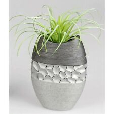 Deko Vase MODERN STONES oval H. 20cm silber grau Keramik Formano
