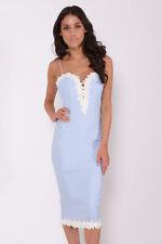 Rare London Cornflower Blue Floral Lace Trim Midi Dress All Sizes