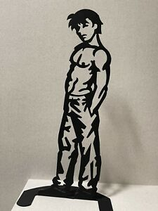 """Wim Griffith (Signed) 20 inches """"Baggy Boy"""" Male nude Steel Sculpture Gay Art"""