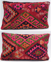 "Home Decorative Kurdish kilim pillow handmade geometric rectangle rugs 24""X18"""