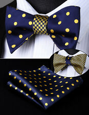 BE04YS Blue Dot Geometric Double Side Bowtie Men Silk Self Bow Tie hanky set