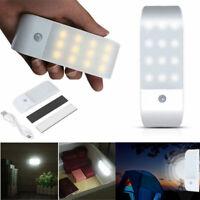 12LED PIR Auto Motion Sensor Closet Night Light USB Rechargeable Wardrobe Lamp Y