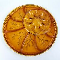 "Vtg INDIANA GLASS Amber 13"" ROUND DEVIL EGG TRAY Divided Relish SERVING PLATTER"