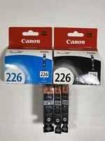 Lot Of 5 Genuine Canon Pixma 226 & 225 Ink CLI-226C, CLI-226BK(3x), PGI-225PGBK