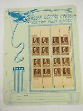 Scott # 878 Jane Addams Plate block (22558) block All Four Corners 1940 10c FVF