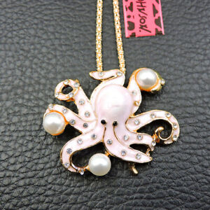 Betsey Johnson Pink Enamel Crystal Cute Pearl Octopus Pendant Necklace /Brooch