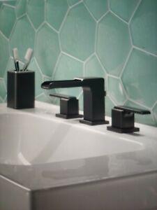 Delta Ara 3568LF-BLMPU Matte Black Widespread Channel Bathroom Faucet #DL121