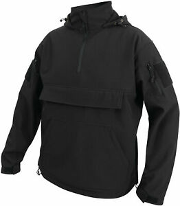 Black Soft Shell Concealed Carry Anorak CCW Waterproof Tactical Hoodie Pullover