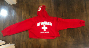 Lifeguard Branded Women's Small Red Outer Banks Hoodie Cropped Sweatshirt