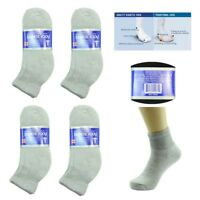 12 Pairs Diabetic ANKLE Circulatory Edema Socks Health Cotton Mens Gray 13-15