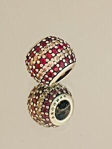 Genuine Pandora Charm - Red & Clear CZ Pave Stripe Ball 791172CZR  #2/4