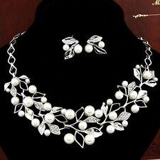 Bridal Wedding Jewelry Set Rhinestone Diamante Pearl Silver Necklace Earrings UK