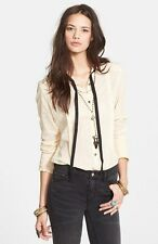 148875 New Free People 'Hannah' Necktie Dot Embroidered Blouse Tunic Top XS