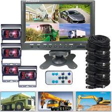 "9"" Quad Split Screen Monitor 4x Truck Trailer Camera Car Rear View Camera System"