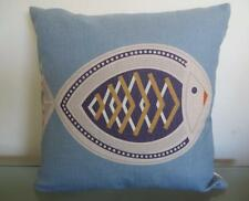 Retro Pop Art Skeleton Fish Blue/Orange/Tan Linen Blend Cushion Cover 45cm