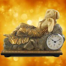 Kamin Tischuhr Frau liegend Polystein GOLD farbig L.27x20cm Kamin Uhr Zeitzeugin