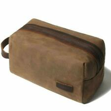 Travel Toiletry Bag Dopp Kit Leather Toiletry Bag Water Resistant for Men Brown
