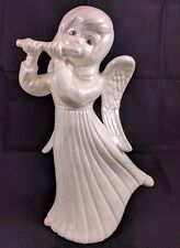 Angel Child Playing Flute Pearl Iridescent White Ceramic Figurine Statue Wings