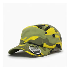 Washed Cotton Twill Five Panel Adjustable Camper Caps(Yellow Camo)