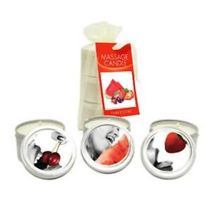 Edible Massage Candle Threesome - Cherry, Strawberry & Melon Flavoured Candle...