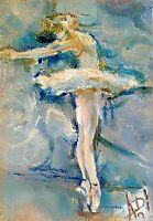 Original art aceo,oil/,aceo,Odette classical ballet dancer pointe,impressionism