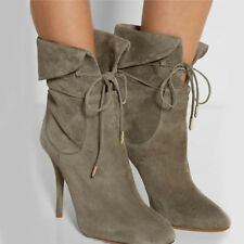Women Suede Lace Up Stiletto High Heel Ankle Boots Pointed Toe Party Shoes Size
