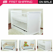 BABY COT BED/COT BEDS/WHITE BABY COT WITH DRAWER/JUNIOR BED/FOAM FREE MATRESS