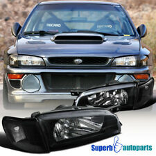 For 1995-2001 Subaru Impreza Black Headlights+Corner Turn Signal Lamps (Fits: Subaru)