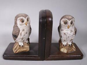 Buchstützenpaar, Holz mit Keramik Eulen á ca. 115 cm H    3N8763