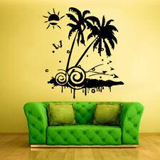 Wall Vinyl Sticker Bedroom Design Palm Tree Beach Vacation Ocean Sea Sun Z366